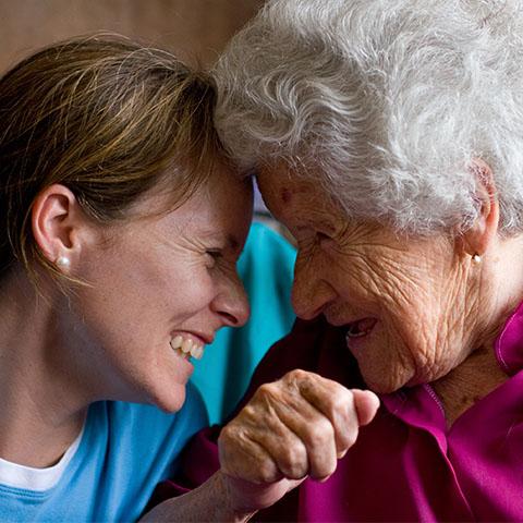 Elderly woman with her niece